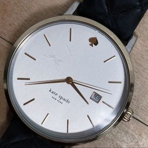 Kate Spade Two-Tone Watch / Black Leather Band
